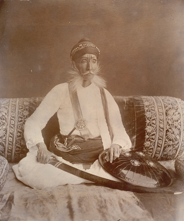[Portrait of] H.H. Maharao Raja Sir Ramsinghji Bahadur, GCSI, CIE. Late Chief of Bundi (Rajputana). Born Samvat 1868 (AD 1811). Died Samvat 1945 (AD 1888).